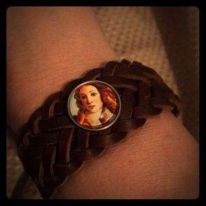 Jewelry - Brown leather braided 1 snap bracelet- NEW!